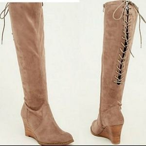 TORRID taupe knee high lace back wedge boots 10w
